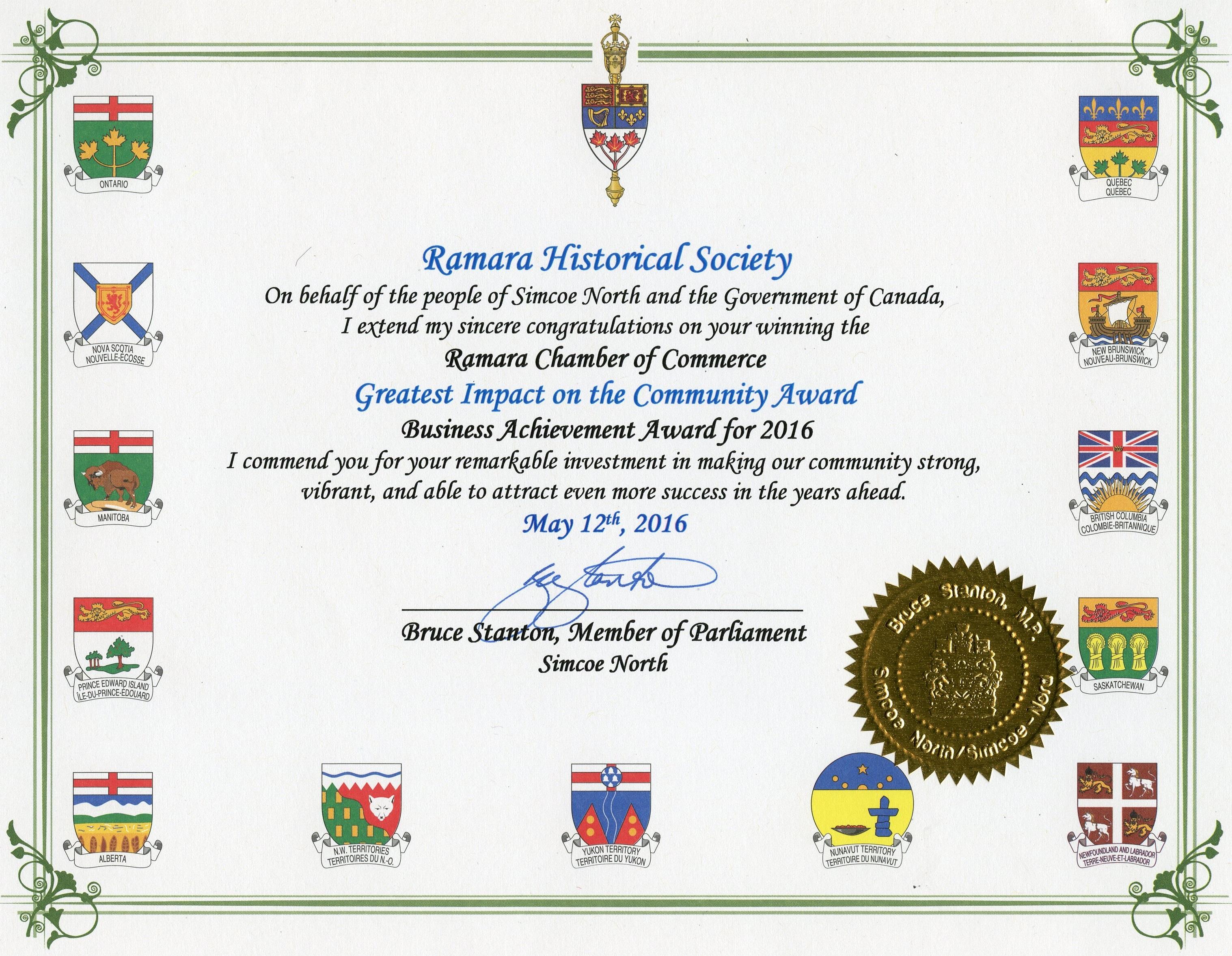 RHS Certificate 2