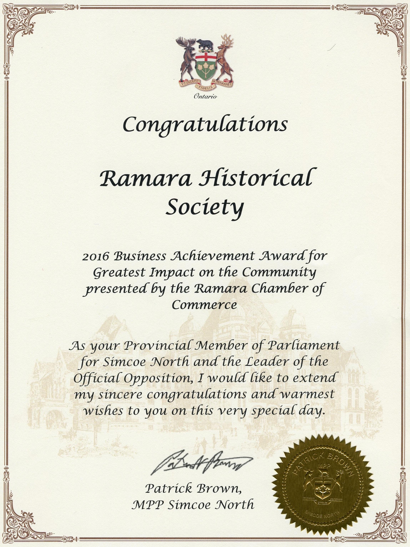RHS Certificate 3